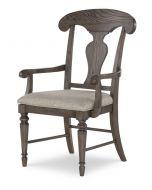 Legacy Classic Brookhaven  Rustic Dark Elm Splat Back Arm Chair Set of 2
