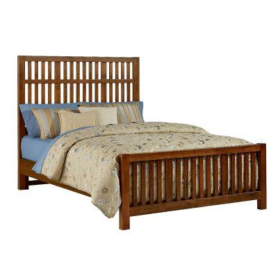 Artisan & Post Amish Cherry King Craftsman Slat Bed with Slat Footboard
