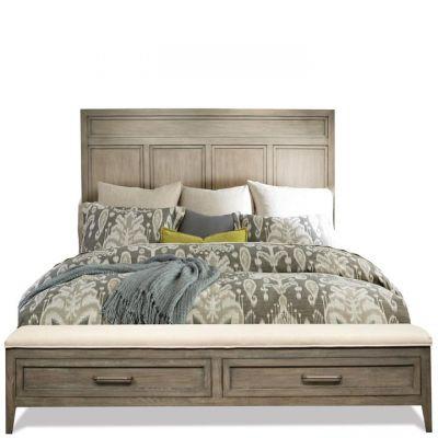 Riverside Furniture Vogue Gray Wash King Panel Storage Bed