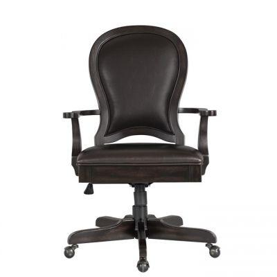 Riverside Clinton Hill Kohl Black Round Back Upholstered Desk Chair