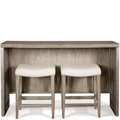 Riverisde Sophie Natural Sofa TableWith Backless Upholstered stools