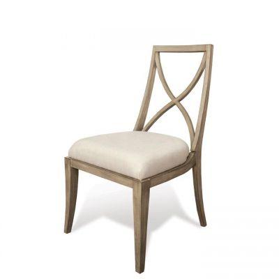 RIverside Sophie Natural X-Back Upholstered Side Chair