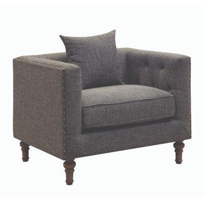 Ellery Tuxedo Arm Tufted Chair Grey Ridgewood
