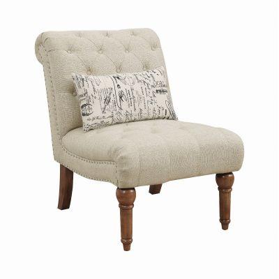 Josephine Tufted Upholstered Armless Chair Oatmeal Glen Rock