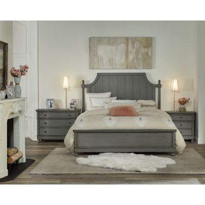 Bella Grigio King Panel Platform Bed in Chipped Gray Dumont