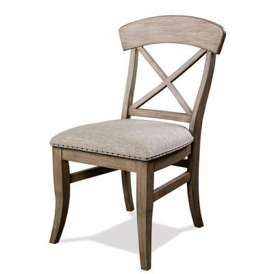 Riverside Southport Antique Oak X-Back Upholstered Side Chair
