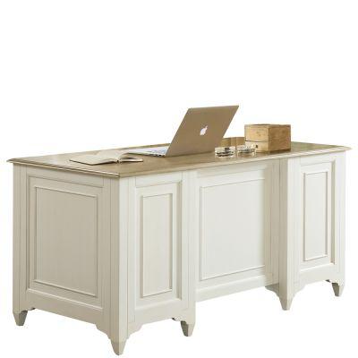 Riverside Myra Natural/PaperWhite Executive Desk