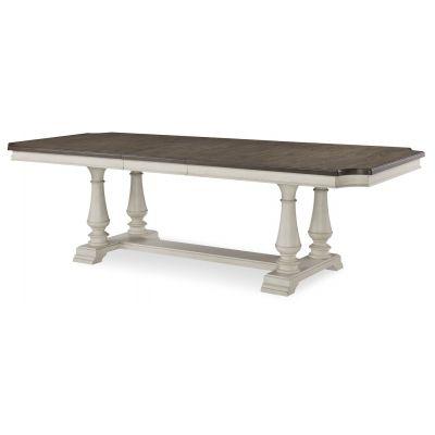 Legacy Classic Brookhaven Vintage Linen Rustic Dark Elm Trestle Dining Table