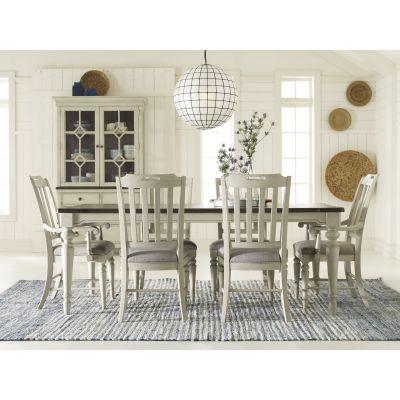 Legacy Classic Brookhaven Vintage Linen Rustic Dark Elm Leg Dining Room Set