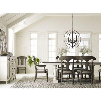 Legacy Classic Brookhaven Vintage Linen Rustic Dark Elm Trestle Table Dining Room Set