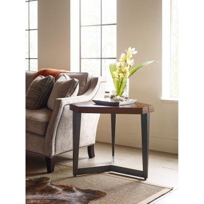 American Drew AD Modern Synergy Walnut Triangular Lamp Table