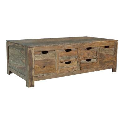 Jersia Six Drawer Storage Coffee Table in Natural Sheesham