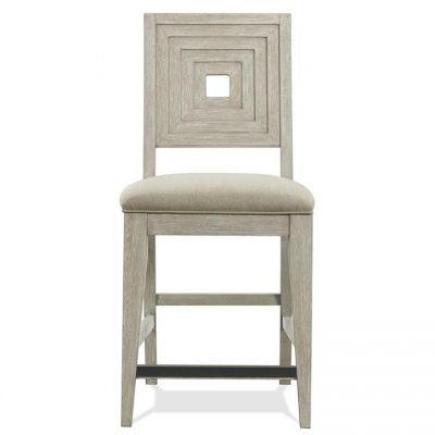 Riverside Cascade Dovetail Upholstered Wood Back Counter Stool Set of 2