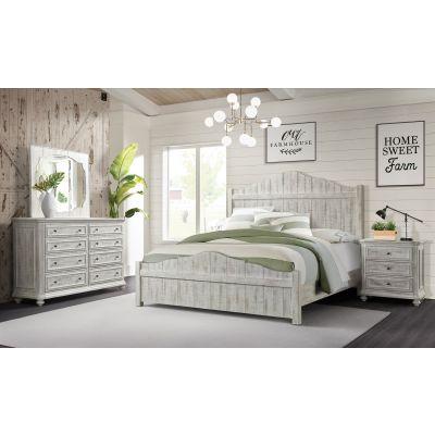 Madison Panel Platform bed-Rustic White-King Ridgewood