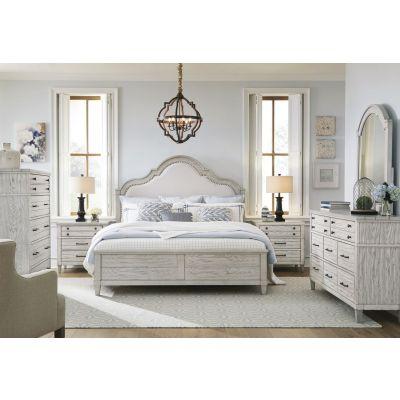 Legacy Classic Belhaven Weathered Plan Upholstered Panel Bedroom Set