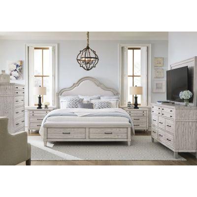 Legacy Classic Belhaven Weathered Plank Upholstered Panel Storage Bedroom Set