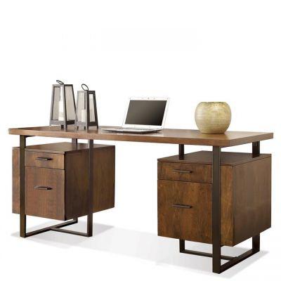 Terra Vista Casual Walnut Double Pedestal Writing Desk