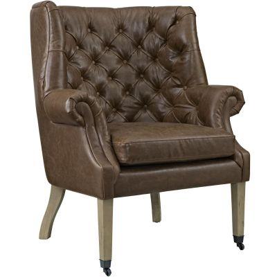 Jisda Upholstered Vinyl Lounge Chair in Brown