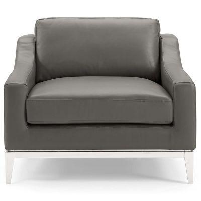 Eicha Stainless Steel Base Leather Armchair