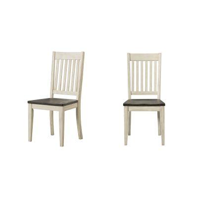 Huron Chalk & Cocoa Bean Slatback Dining Side Chair Set of 2