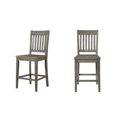 Huron Distressed Gray Slatback Barstool Set of 2