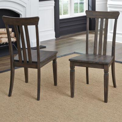 A-America Kingston Slatback Dining Side Chair in Dark Brown Set of 2