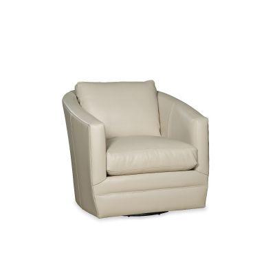 Terta White Leather Swivel Glider