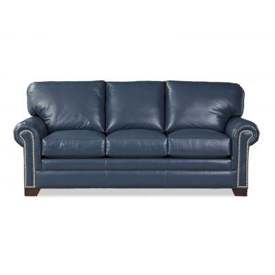 Roland Blue Leather Sofa