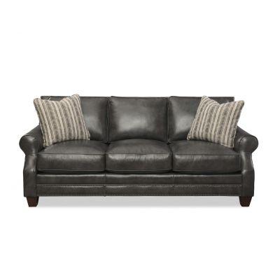 Atticus Black  Leather Sofa Couch
