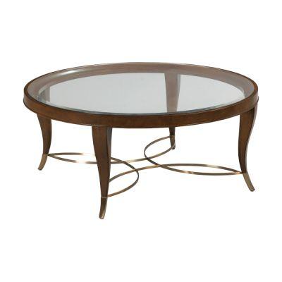 American Drew Vantage Walnut Veneers Round Coffee Table