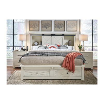 Sun Valley Distressed White Queen Bookcase Headboard Storage Bed
